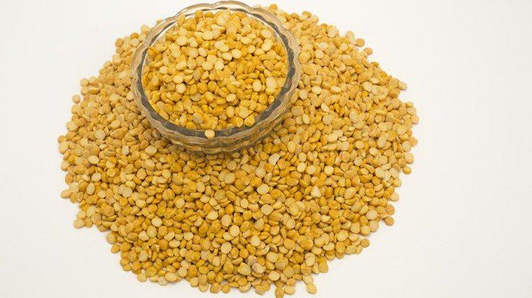 A photograph of yellow split peas