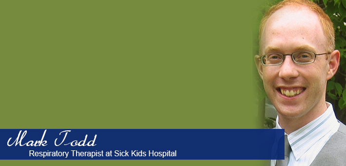 2005 Human Kinetics Alumnus Mark Todd, Respiratory Therapist at Sick Kids Hospital.