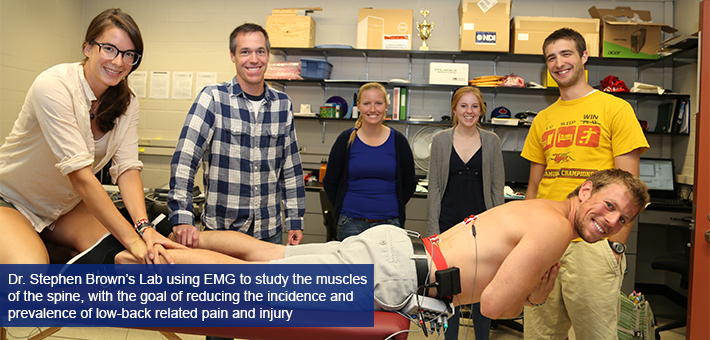 Dr. Stephen Brown's lab using EMG to study the muscles of the spine, with the goal of reducing the incidence and prevalence of low-back related pain and injury.