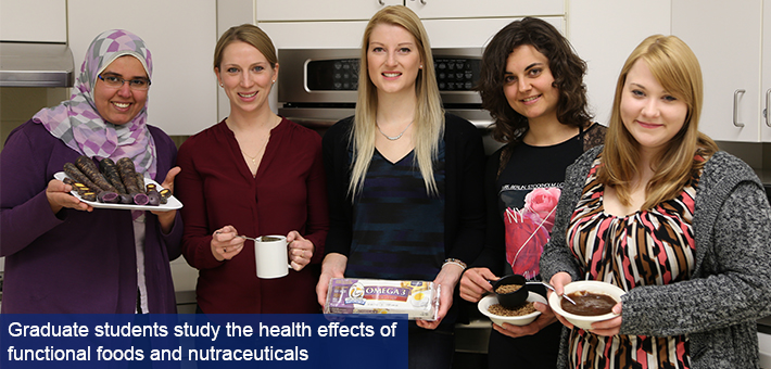 Graduate students study the health effects of functional foods and nutraceuticals.
