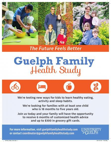 Guelph Family Health Study poster, contact coordinator@guelphfamilyhealthstudy.com