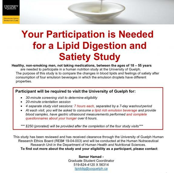 Study poster for Lipid Digestion & Satiety Study, email lipiddig@uoguelph.ca