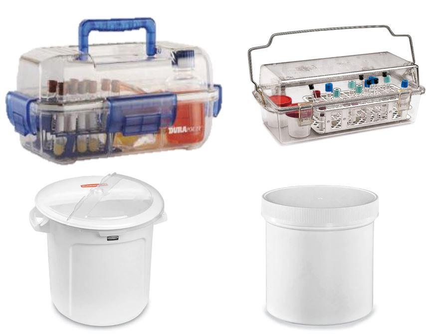 Examples of good transports for biohazardous material, such as clip-on rigid boxes, clip-on tubs etc.