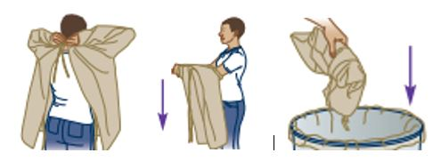 Remove gown by untying it, pulling over body and discarding