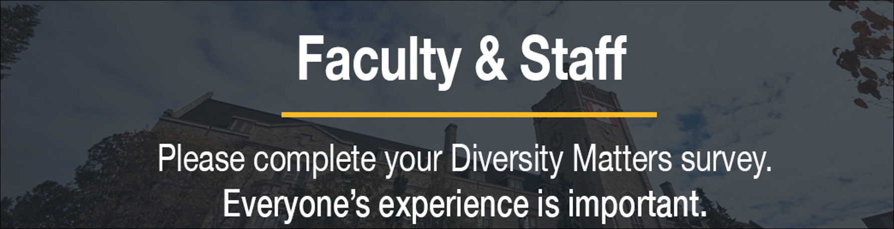 Text requesting staff and faculty to complete Diversity Matters Survey