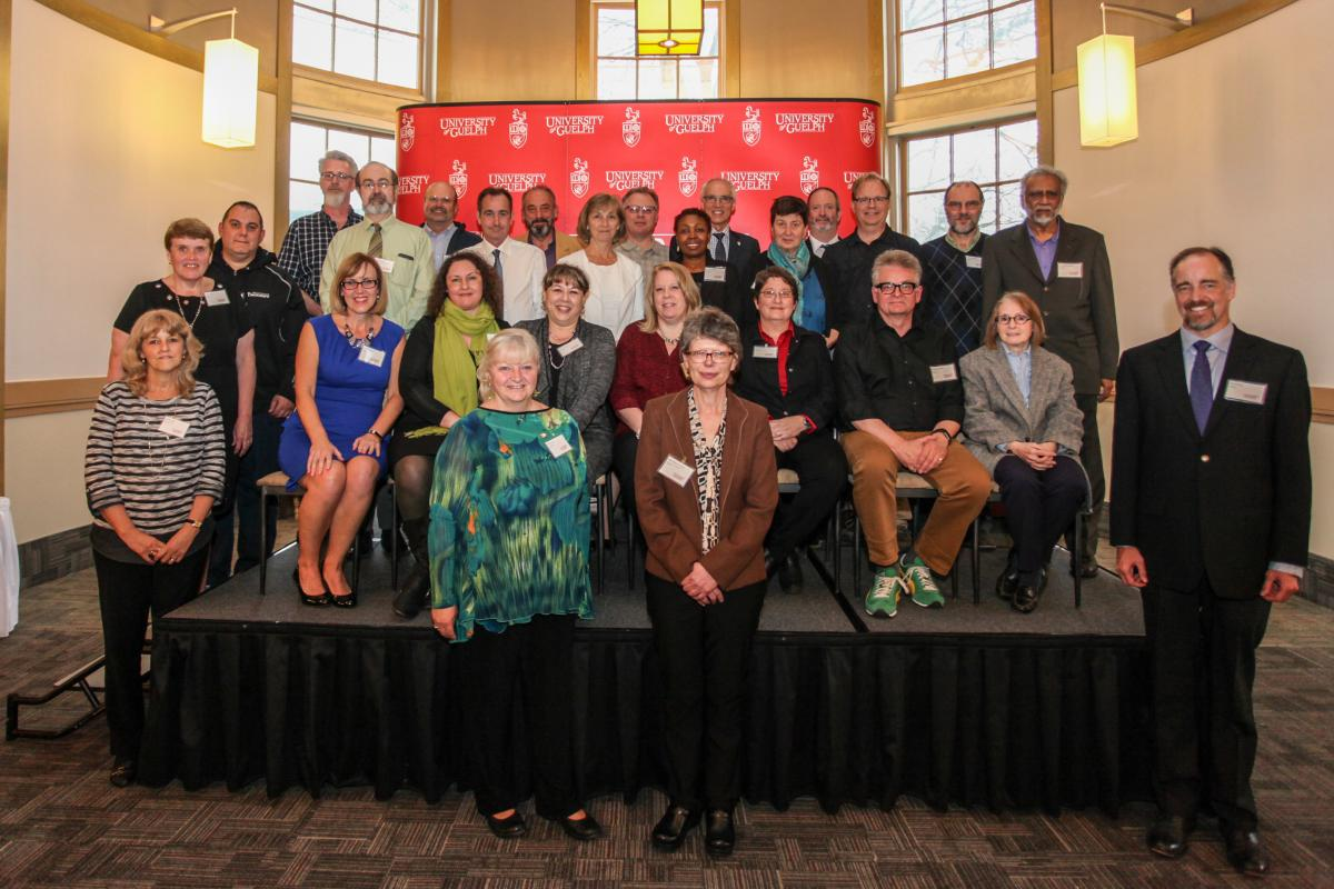 Photo of faculty and staff being recognized for 25 years of service in 2017