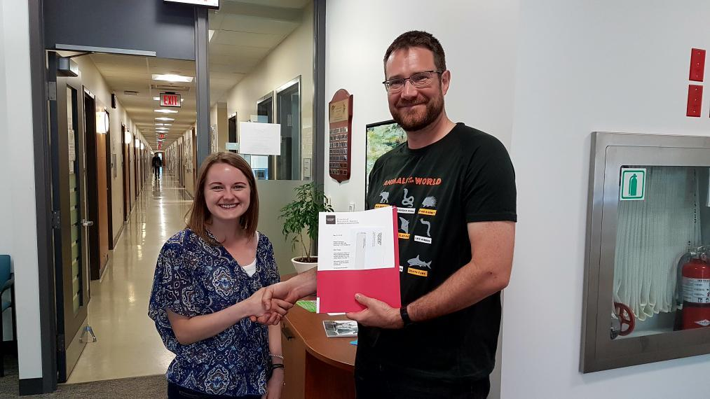 Paige Cochrane and Dr. Ryan Gregory, Chair, Integrative Biology