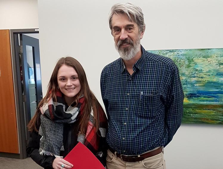 Photo of Candace Park and Dr. John Fryxell, Chair, Integrative Biology