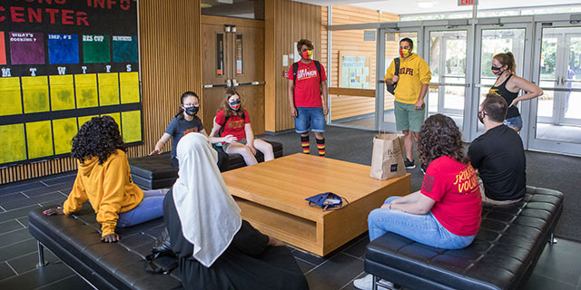 University of Guelph students hanging out in residence
