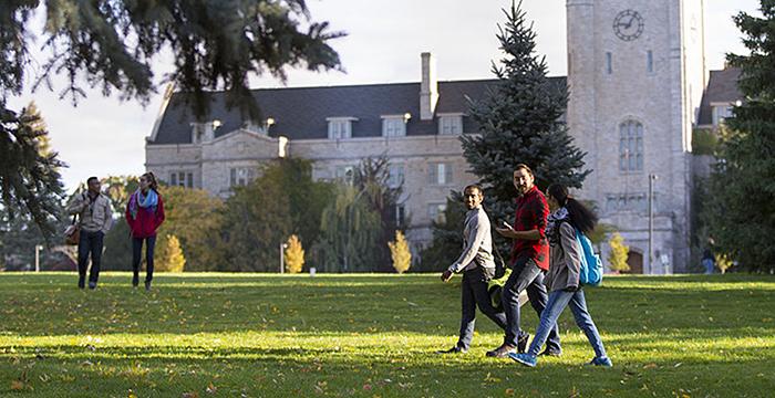 students walking on Johnston Green
