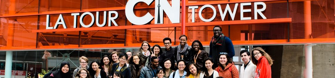 international students at CN tower