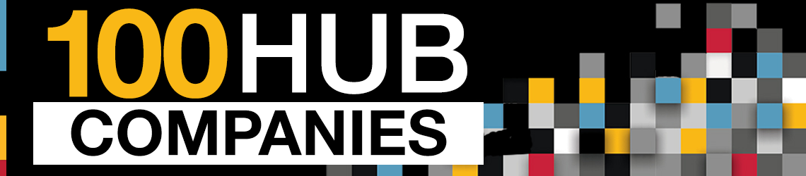 text reads 100 hub companies with coloured squares in the background