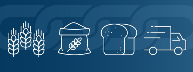 Drawings of a bundle of wheat, bread, and a truck to represent the supply chain