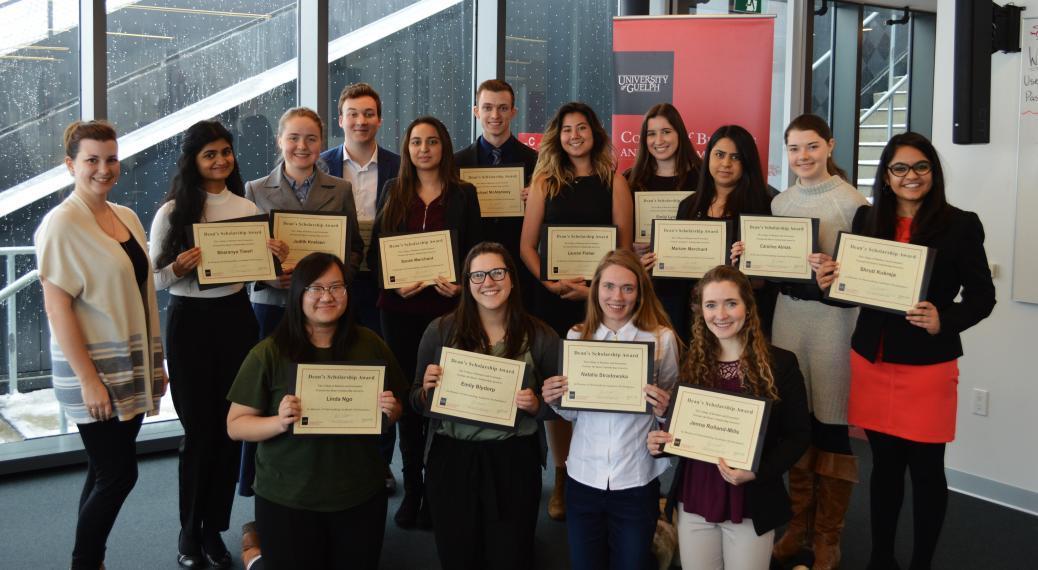 U of G CBE Dean's Scholarship recipients