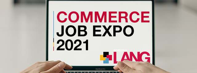 """Laptop with a screen that reads """"Commerce Job Expo 2021"""""""