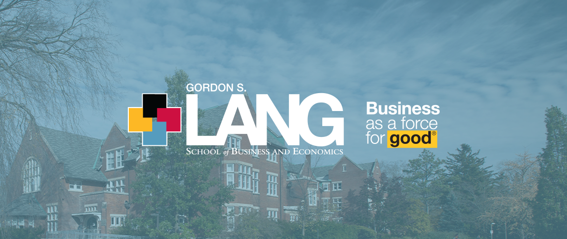 Photo of Lang School logo with an image of Macdonald Hall in the background