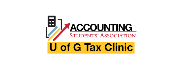 """Account Students' Association logo and a title that reads """"U of G Tax Clinic"""""""