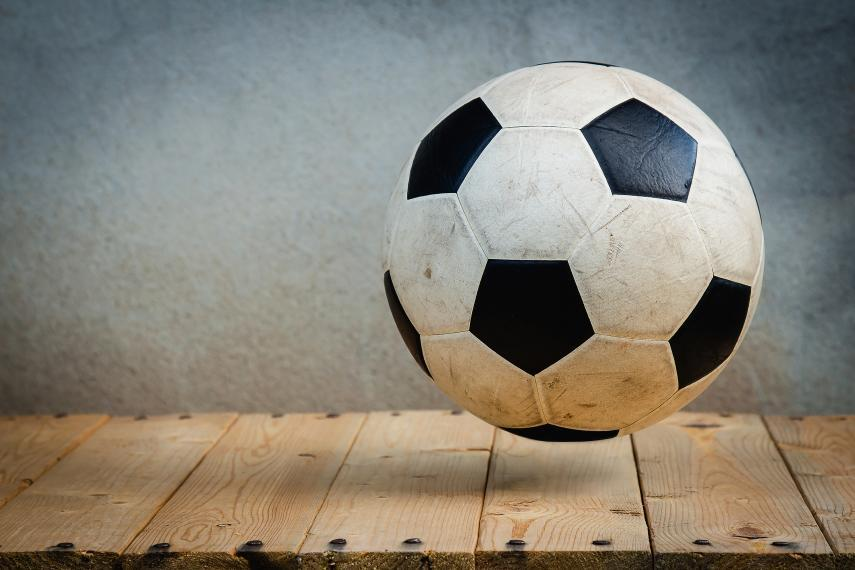 photo of a soccer ball bouncing