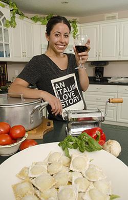 Photo of Lisa Furfaro and her ravioli