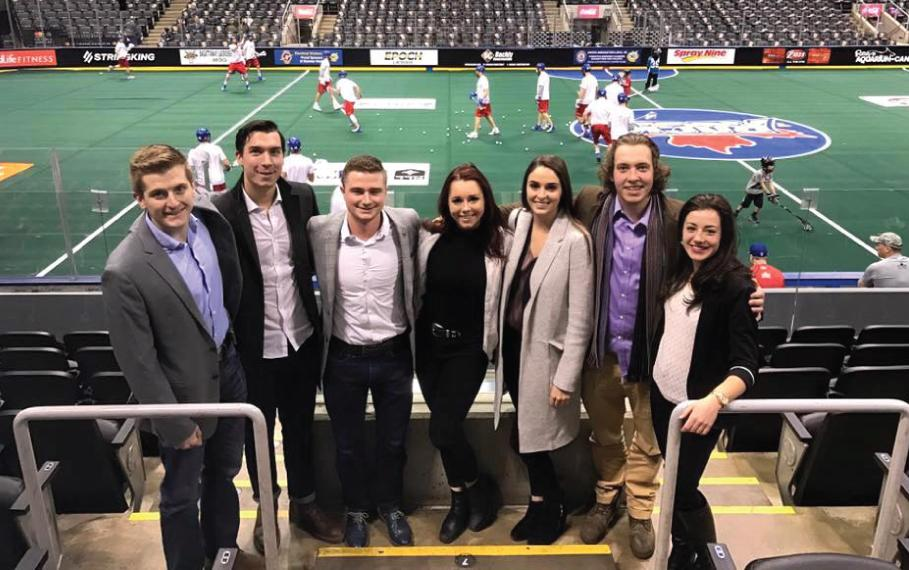 Guelph Lang students at a Toronto Rock Lacrosse game