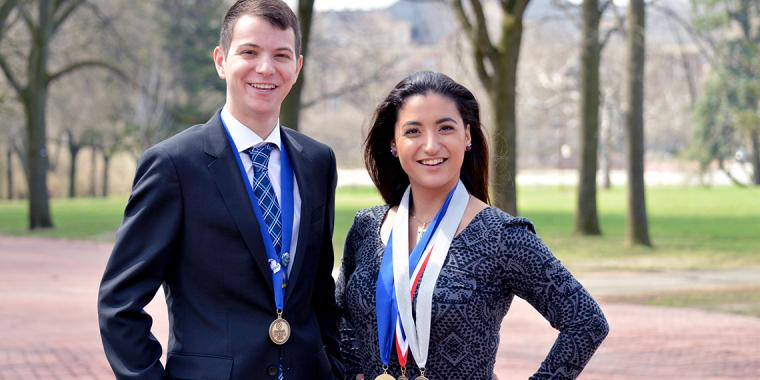 Brandon Ringham and Emily Kaldis with their medals