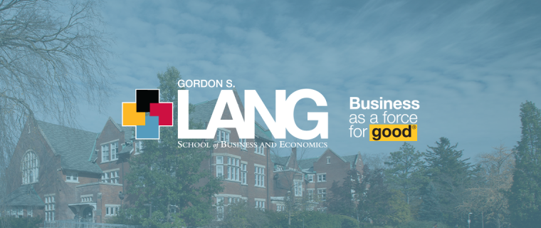 """Photo of the Lang School logo with text to the right that reads: """"Business as a force for good"""""""