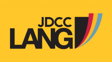 Yellow background with the JDCC Lang logo