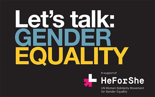 Text that reads: let's talk gender equality