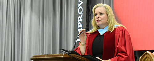 linda hazenfratz speaking at convocation ceremony