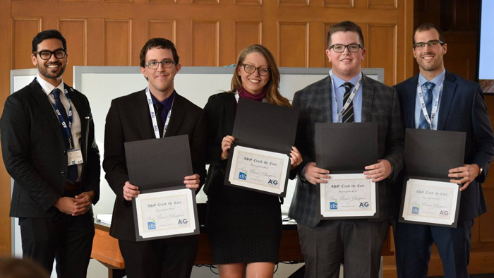 Justin with winning case competition team