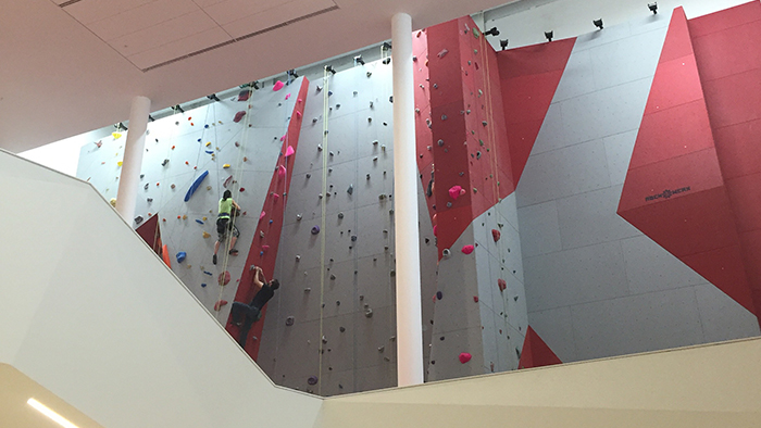 Rock climbing wall at the new athletic centre