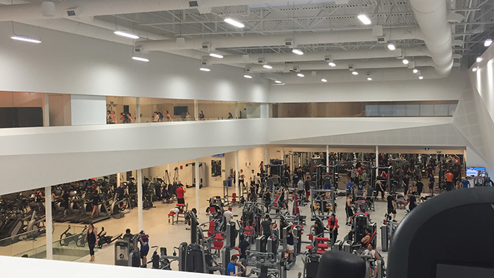 A view of the weight machines at the new athletic centre