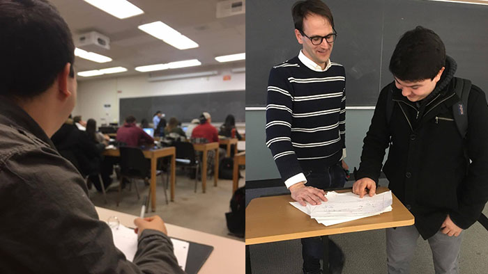 Two images: one of Ryan Martin in class and the other of him asking a prof a question