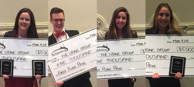 REH students hold their cheques from the case competition.