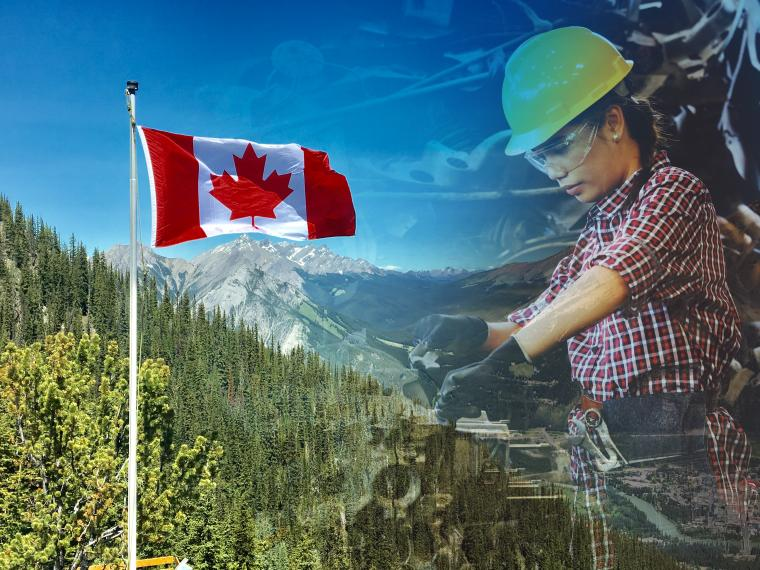 Canada flag and skilled worker