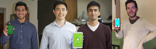 Phot of ElecTrickle team members holding phones with their app on the screen