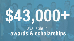 over $43,000 available to students in awards and scholarships