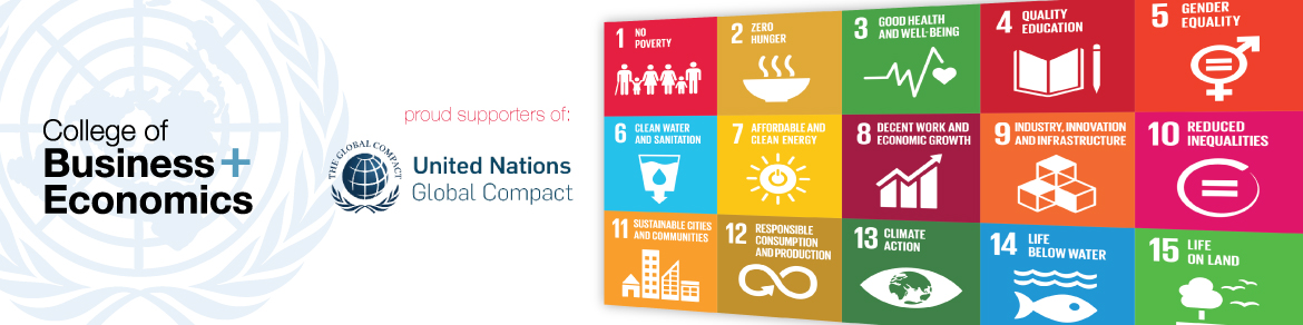 The College of Business and Economics is a proud supporter of the United Nations Global Compact