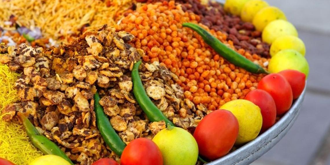 Plate of colorful food and spices