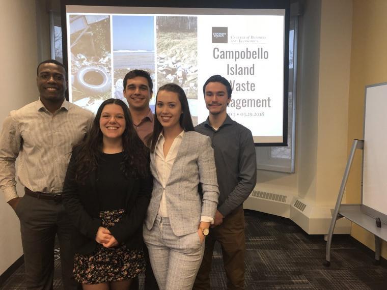 Students presenting their study to help improve Campobello Island