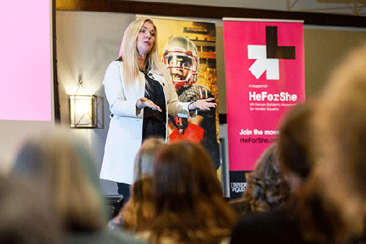 Lisa Lison speaking at HeForShe at U of G