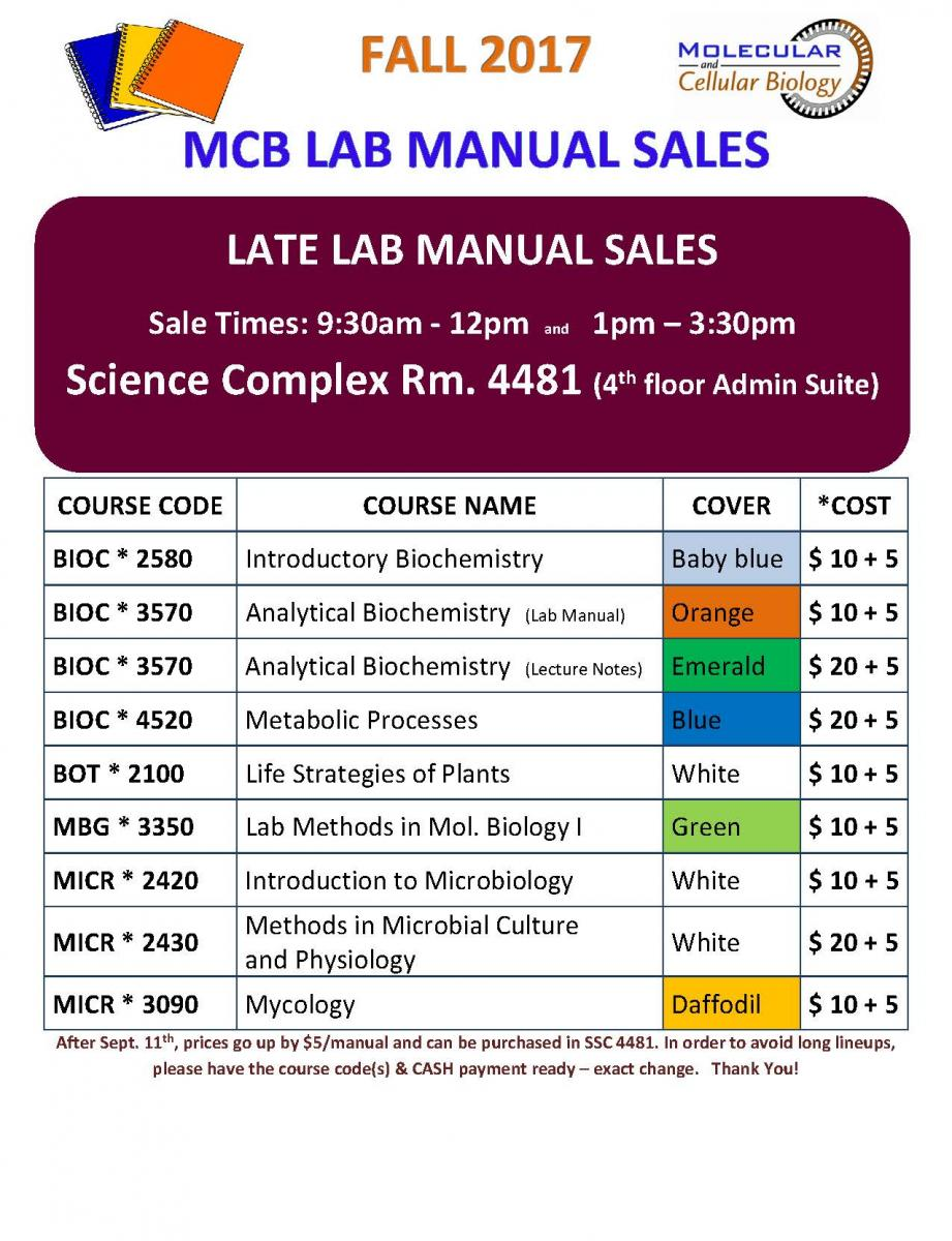 MCB Late Lab Manual Sales