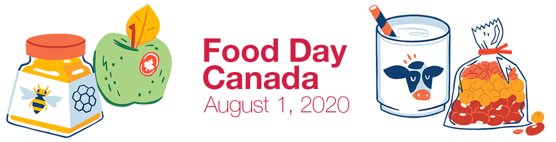 Text that says Food Day Canada, August 1st 2020 with four graphics of honey, an apple, milk and beans.