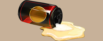 An illustration of a spilled beer can.