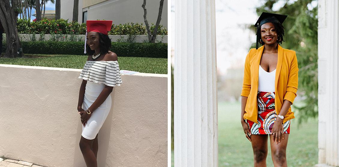 E'layna as a highschool graduate and E'layna as a university graduate