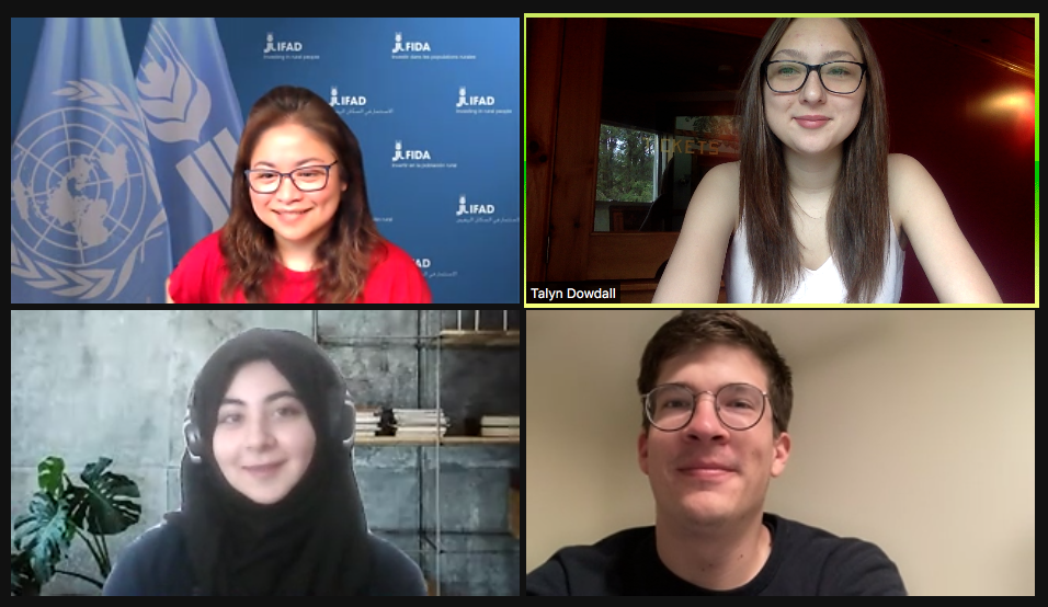A screen capture of a virtual meeting that includes four people.