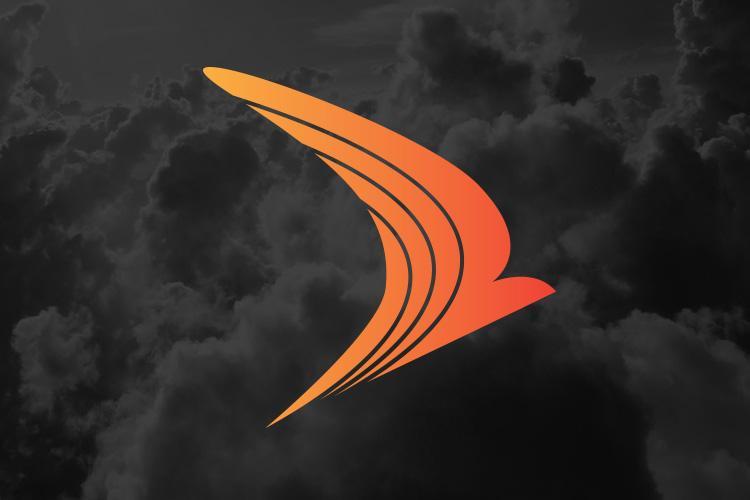 Orange SWIFT logo on dark cloudy backdrop