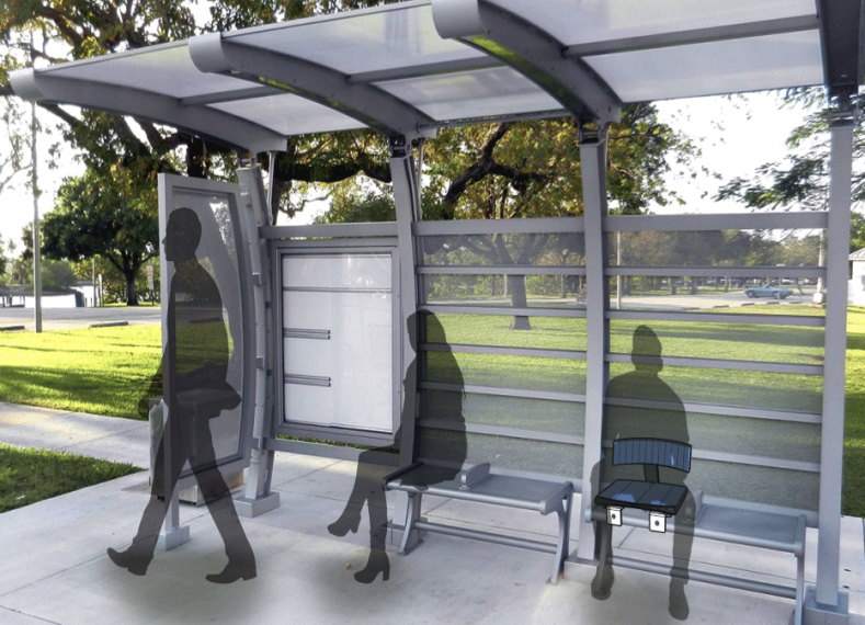 Design rendering of three people in bus shelter featuring an assistive seat