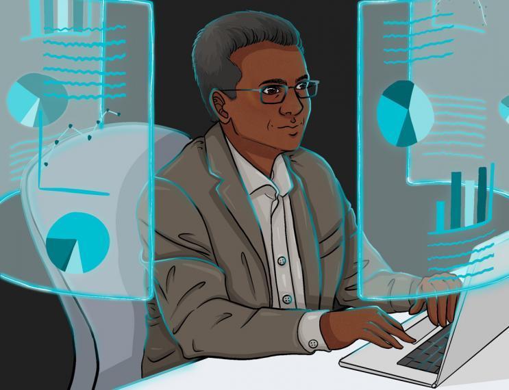Illustration of Bishnu looking at large screens with data and charts