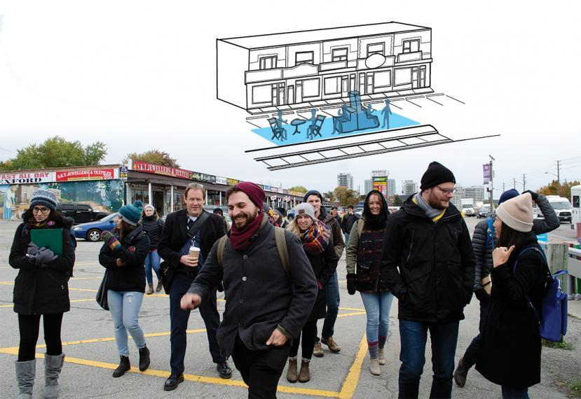 A group of older students walk together outside, with an illutration of a storefront and pop-up space floating above them